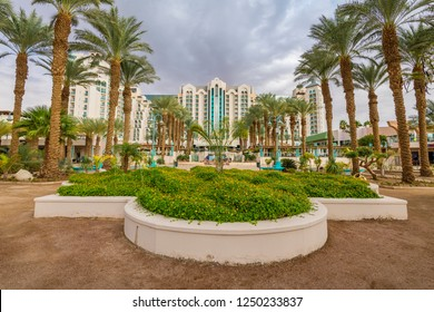 Eilat, Israel - November 30, 2018: Eilat is a perfect vacation spot suitable for the perfect blend of fun, sun, diving, partying and relaxing by pools in luxurious hotels