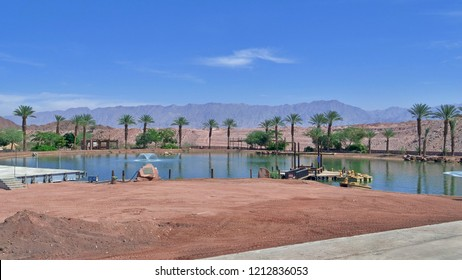 EILAT, ISRAEL - OCTOBER 5, 2018: Artificial lake in Timna Park, located at south of Israel in Negev Desert.