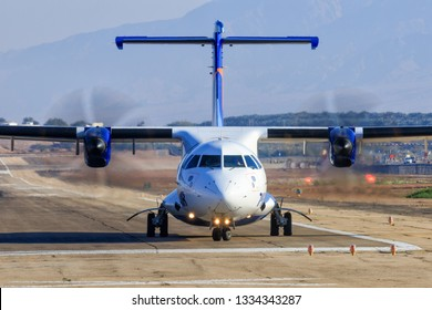 Eilat, ISRAEL-February 24, 2019: Israir Airlines ATR 72-200 at old Eilat international Airport.