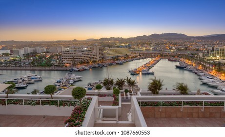 Eilat Marina at sunset. Eilat is a resort town on the southern tip of Israel on the Red Sea.