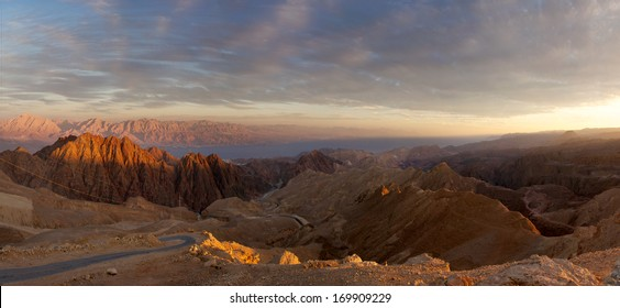 Eilat Mountains panorama and View on Gulf of Aqaba Red Sea, South Israel, Sinai in Egypt, Edom Mountains in Jordan and Saudi Arabia.