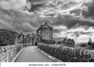 Eilean Donan Castle at Dornie on Kyle of Lochalsh in Scotland with clouds and artistic conversion