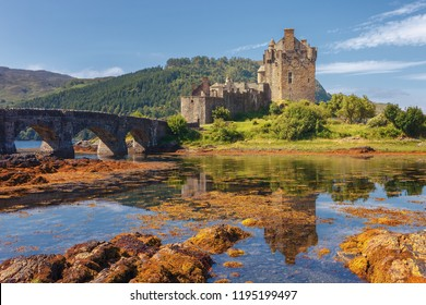 Eilean Donan Castle, at the entrance of Loch Duich, at Kyle of Lochalsh in the western Highlands of Scotland, one of the most evocative, United Kingdom