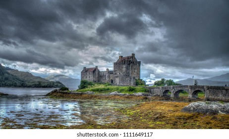 Eilean Donan Castle, Loch Duich, Scotish highlands, United Kingdom with a vintage look