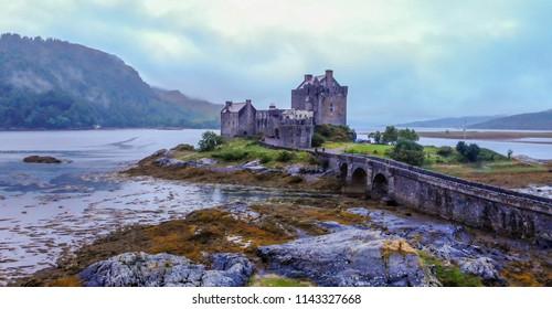 Eilean Donan Castle at Loch Duich in the Highlands of Scotland - aerial view