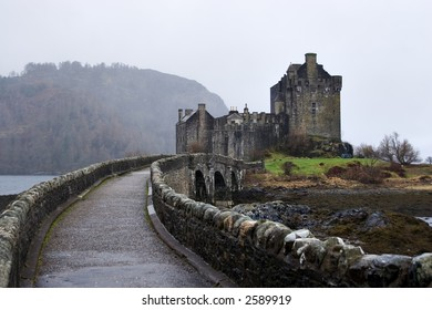 Eilean Donan Castle, Loch Duich, Scotland, on a misty day