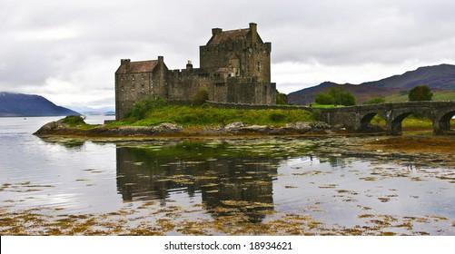 eilean donan castle on a cloudy day