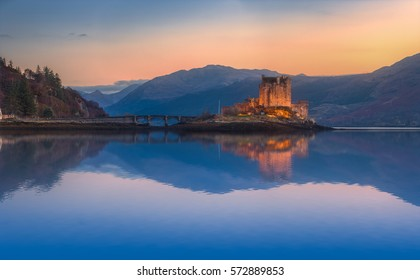 Eilean Donan Castle Panorama. Reflection on Lochalsh. Dornie, Scotland.