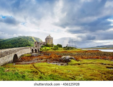 Eilean Donan castle Scotland. Dramatic landscape with side view of the famous Scottish castle. UK