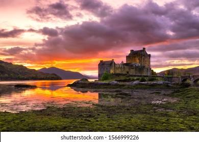 Eilean Donan castle in Scotland, UK at sunset