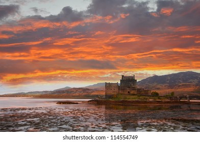 Eilean Donan, Scotland. Scottish castle situated at Loch Duich near Dornie in western part of Scottish Highlands, connected with the mainland by a stone bridge.