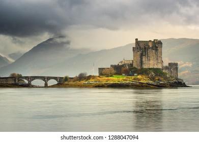 Eilean Donan (Scottish Gaelic: Eilean Donnain) is a small tidal island where three sea lochs meet, Loch Duich, Loch Long and Loch Alsh, in the western Highlands of Scotland. A picturesque castle that