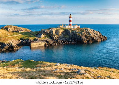 The Eilean Glas Lighthouse on the Isle of Scalpay, a small island connected by a bridge to the Isle of Harris in the Outer hebrides of Scotland