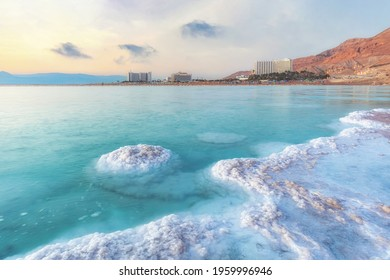 Ein Bokek, Israel. April 15, 2021. Morning panorama of the Dead Sea with the Ein Bokek resort village in the background.