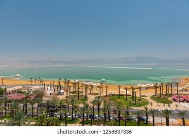Ein Bokek, Israel - December 15, 2018. Dead Sea beach hotel resort shore.