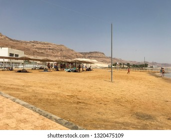 EIN GEDI, DEAD SEA, ISRAEL - MAY 11, 2018: The beach and shops at Ein Gedi, Dead Sea, Israel. The popular tourist attraction is the lowest point on Earth.