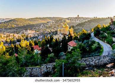 Ein Karem neighborhood with Russian Orthodox church on a hillside, Jerusalem