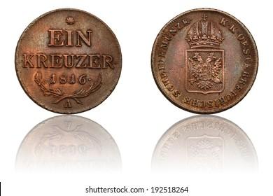 Ein Kreuzer - Old Austrian Empire Coin Minted in 1816, The Obverse and Reverse, Used Old Coin, SCHEIDEMUNZE K.K OESTERREICHISCHE, Numismatics