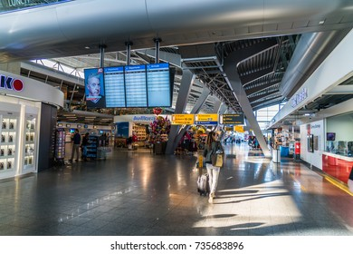 Eindhoven August 19th 2017: Interior of the terminal of Eindhoven Airport with passengers entering and leaving
