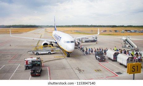 Eindhoven City / Netherlands - 07 10 2018: People are boarding on Ryanair flight