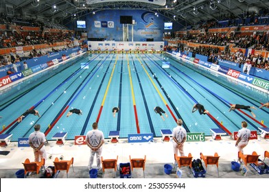 EINDHOVEN, HOLLAND-MARCH 19, 2008: top panoramic view of swimmers starting blocks and indoor swimming pool lanes at the European Swimming Championship, in Eindhoven.
