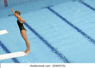 EINDHOVEN, HOLLAND-MARCH 23, 2008: female diver standing on diving board during the European Swimming Championship, in Eindhoven.