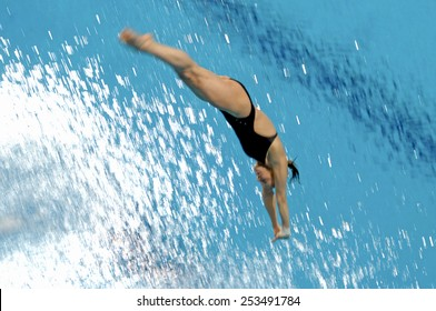 EINDHOVEN, HOLLAND-MARCH 23, 2008: female diver diving into pool during the European Swimming Championship, in Eindhoven.