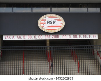 Eindhoven, The Netherlands - 24 June 2019: PSV Philips stadium. Entrance stand and logo. Part of a serie.