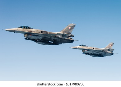 EINDHOVEN, THE NETHERLANDS - APRIL 20: Flight of two F-16 Fighting Falcons of the Polish Air Force during an air refueling exercise. Eindhoven april 20, 2016, The Netherlands.