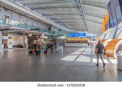 EINDHOVEN, NETHERLANDS - AUGUST 31, 2016: Interior of the airport in Eindhoven, Netherlands.