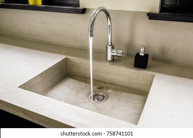 Eindhoven, The Netherlands - December 19, 2015: Modern kitchen sink with a natural look