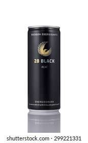EINDHOVEN, THE NETHERLANDS - JULY 23, 2015: A can of 28 Black acai fruit energy drink on a white background.