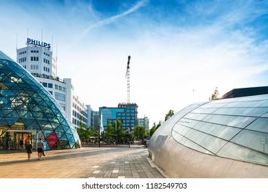 EINDHOVEN, NETHERLANDS - JULY 27, 2018 : Eindhoven shopping street in modern architecture