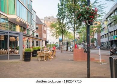 EINDHOVEN, NETHERLANDS - JULY 27, 2018 : Restaurants in Downtown Eindhoven, Netherlands