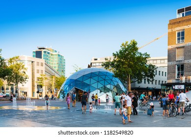 EINDHOVEN, NETHERLANDS - JULY 27, 2018 : Street view of Downtown Eindhoven, Netherlands