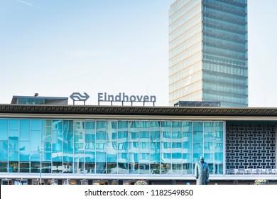 EINDHOVEN, NETHERLANDS - JULY 27, 2018 : main train station Eindhoven, Netherlands