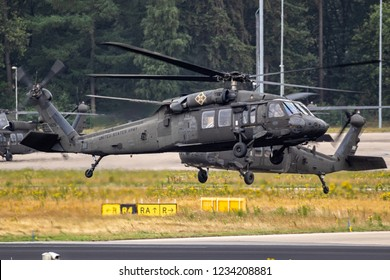EINDHOVEN, THE NETHERLANDS - JUN 22, 2018: United States Army Sikorsky UH-60 Blackhawk transport helicopters taking off.