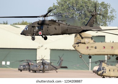 EINDHOVEN, THE NETHERLANDS - JUN 22, 2018: United States Army Sikorsky UH-60 Blackhawk transport helicopter taking off.
