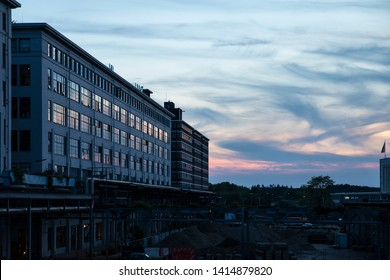 Eindhoven, The Netherlands, June 1st 2019. The old Philips factories transformed into city lofts at the industrial and creative district Strijp S during dutch sunset