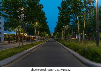 Eindhoven, The Netherlands, June 1st 2019. The Torenallee promenade at creative district Strijp S during nightfall or late sunset