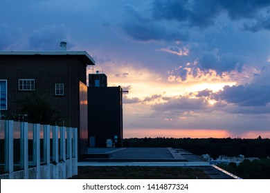 Eindhoven, The Netherlands, June 2nd 2019. A beautiful Dutch sunset seen from the rooftop of the old Philips factories transformed into city lofts at the industrial and creative district Strijp S
