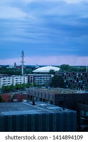 Eindhoven, The Netherlands, June 2nd 2019. A view of Eindhoven city with the famous Evoluon building during sunset with a pastel sky
