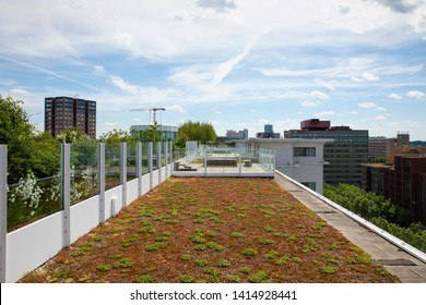 Eindhoven, The Netherlands, June 2nd 2019. A view of the rooftop garden of the former Philips factories which are transformed into city lofts during a sunny day at Strijp S horizontal