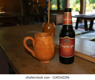 Eindhoven, Netherlands  - June 3, 2018: Capuchin beer was inspired by a French monastery of Capuchin monks brewed in the Netherlands 6,5%Vol.