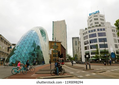 EINDHOVEN, NETHERLANDS - JUNE 5, 2018: Day view of the old Philips factory building and modern futuristic building in the city centre of Eindhoven, Netherlands