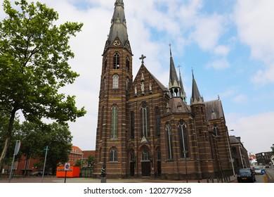 EINDHOVEN, NETHERLANDS - JUNE 5, 2018: Exterior of a 19th century Father Church (Augustijnenkerk) in Eindhoven, Netherlands