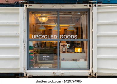 Eindhoven, The Netherlands, May 23rd 2019. A view of a store in a shipping container where you can buy upcycled goods from used materials or products