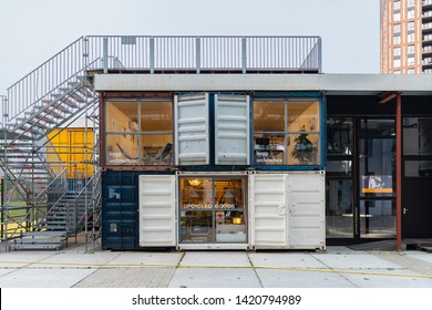 Eindhoven, The Netherlands, May 23rd 2019. A view of a store in a shipping container where you can buy upcycled goods from used materials or products and a architecture company. Circular economy