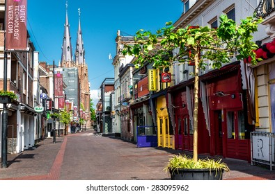 Eindhoven, Netherlands - May 24, 2015: Morning in Eindhoven city center. After Dark it is one of the most visited place for tourists. Streets lined with bars, discos, gay and striptease clubs