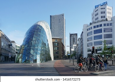 Eindhoven, The Netherlands - May 26, 2019: Business city center of Eindhoven. Modern buildings and facilities.